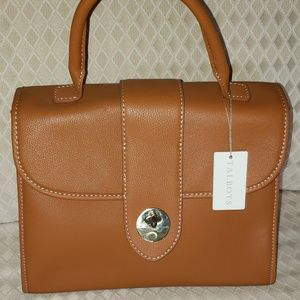 New with tag Talbots camel brown leather Kelly bag